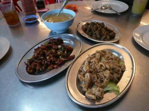 fried squid, suso, mantis shrimp